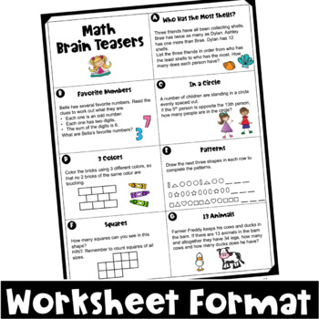 math worksheet : math task cards math problems and math brain teasers freebie  tpt : Mathbrain