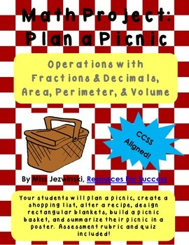 Math Project: Operations with Fractions & Decimals, Area,