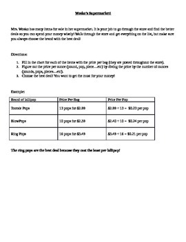 Math Project - Comparing Prices