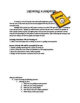 Math Project - Creating a Survey - data management unit