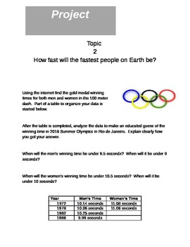 Math Project - Fastest Person on Earth - 5.NBT