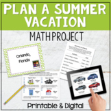 Plan a Summer Vacation Math Project and for use with Google™ Classroom
