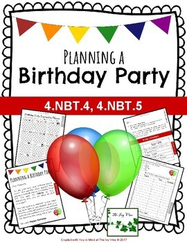 Math Project - Planning a Birthday Party - Grade 4 (NBT.4, NBT.5)