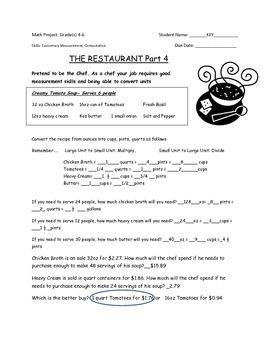 Math Project: Restaurant Part 4