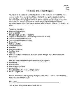 Math Project Sixth Grade