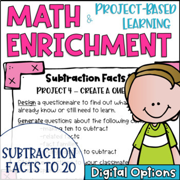 Math Project Based Learning Enrichment For Subtraction Facts To 20