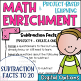 Math Project-based Learning & Enrichment for Subtraction Facts to 20