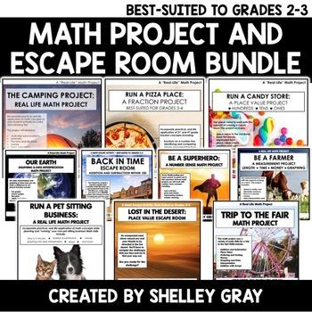 Math Projects & Escape Rooms for Grades 2-3   Bundle of Ten