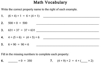 Math Properties, 3rd grade - worksheets - Individualized Math