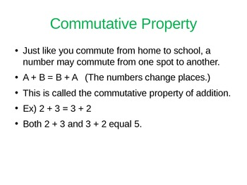 Math Properties (Commutative, Associative, and Distributive) Power Point