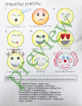 Math Properties Cut & Paste Notes and Emoji Coloring Activity