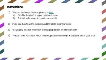 Math Properties Drag & Drop - Google Drawing
