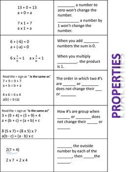Math Properties Flippable & Left Side Activity