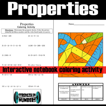 Math Properties Interactive Notebook Coloring Activity