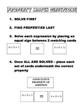 Math Properties Matching Center