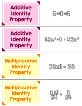 Math Properties Matching Task Cards