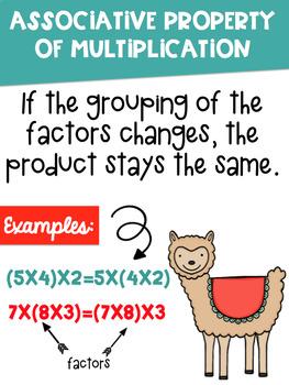 Math Properties Posters with a Llama Alpaca Theme