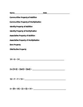 Math Properties Quiz
