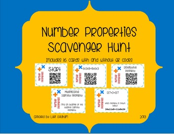 Math Properties Scavenger Hunt using QR Codes