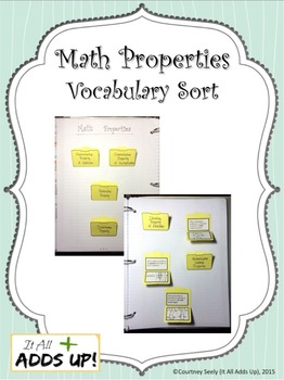 Math Properties Vocabulary Interactive Notebook Printable