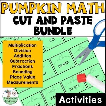 Math Pumpkin Cut and Paste Activities - No Prep BUNDLE