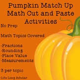 Math Pumpkin Cut and Paste Activities - No Prep Fractions, Rounding & 2 more