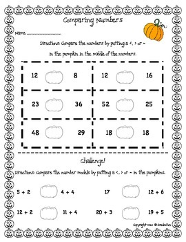 Math Pumpkin Themed Practice Pages
