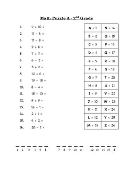Math Puzzle For Beginning of Year