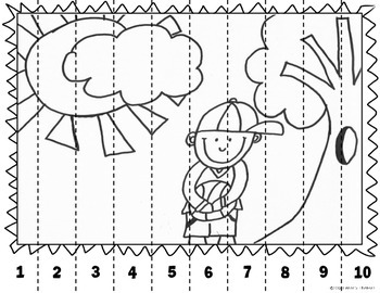 Math Puzzle Stripes - Sequence Numbers less than 100 (Boy in Park)