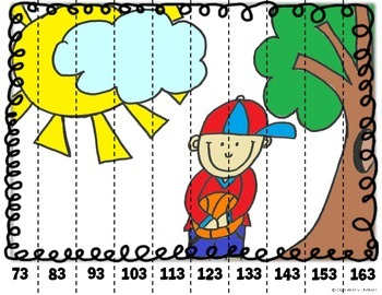 Math Puzzle Stripes - Count by Tens (Boy in Park)