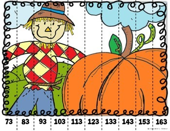 Math Puzzle Stripes - Count by Tens (Fall Time)