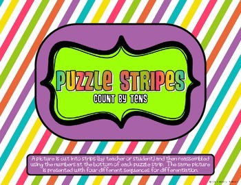 Math Puzzle Stripes - Count by Tens (Football Time)