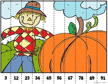 Math Puzzle Stripes - Sequence Numbers less than 100 (Fall Time)