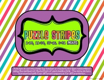 Math Puzzle Stripes - Sequence Numbers less than 100 (Football Time)