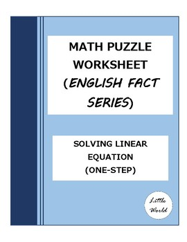 Math Puzzle Worksheet Solving One Step Linear Equation (English Fact Series)