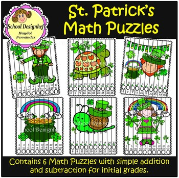 Math Puzzle for St. Patrick's Day - Addition & subtraction (School Design)