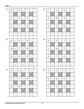 Math Puzzles 100 Across Down Squares Addition