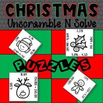 Math Puzzles | 4NBT4 | Unscramble N Solve | 4th Grade | Christmas Edition