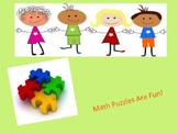 Math Puzzles Activities:Fractions~Multiplication~Decimals