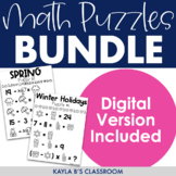 Math Puzzles Bundle: Monthly Themed (Digital Puzzles Included)