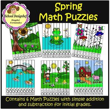 Math Puzzles - Spring - Addition & subtraction (School Design)