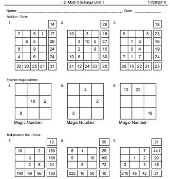 Math Puzzles, Tables and Drills: Addition, Subtraction, Multiplication, Division