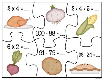 Math Puzzles: Thanksgiving Harvest