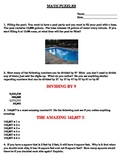 Math Puzzles Worksheet  Great for Group Work !!