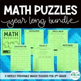 Math Puzzles for 2nd Grade BUNDLE - Math Brain Teasers, Crossword, Logic Puzzle