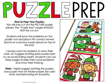 Math Puzzles for Christmas | Math Centers