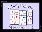 Math Puzzles for Numbers 1-10 -- Math Center Activity
