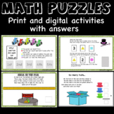 Math Puzzles, logic, numbers - warm-ups, challenge, center
