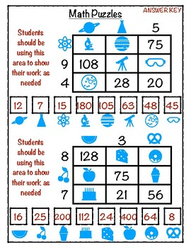 Math Puzzles (multiplication and division practice)