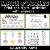 Fun Math Puzzles - operations, logic, numbers -print, digital